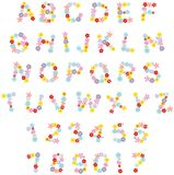 Funny floral font. Vector English alphabet and numerals with flowers drawn in cartoon style Royalty Free Stock Photos