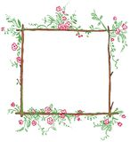 Funny floral frame Royalty Free Stock Photos