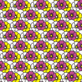 Funny floral pattern. Color flowers on white background. Royalty Free Stock Photos