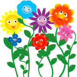 Funny flowers. Funny colored flowers on white background Vector Illustration