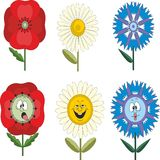 Funny flowers with different emotions 010 Royalty Free Stock Image