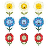 Funny flowers with different emotions 015. Funny flowers with different emotions isolated on white background 015 Vector Illustration