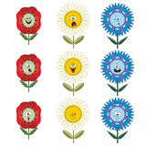 Funny flowers with different emotions 017 Royalty Free Stock Photos