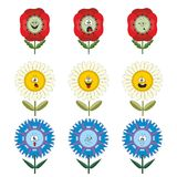 Funny flowers with different emotions. On white background Vector Illustration