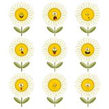 Funny flowers with different emotions 012 Royalty Free Stock Photos