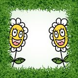 Funny flowers in grass frame. Design of funny flowers in grass frame Vector Illustration