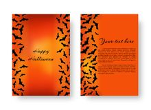 Funny Flyer with bats for Halloween. Scary greeting card template with black bats for festive Halloween design on the orange backdrop. Vector illustration Royalty Free Stock Photography