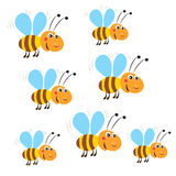 Funny Flying Bees. Vector On A White Background. Bee. Bee Toy. stock illustration