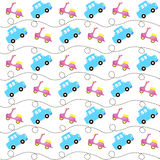 Funny flying cars and mopeds, seamless pattern, kids background vintage transport. Funny flying cars and mopeds, seamless pattern, kids background vintage Stock Images