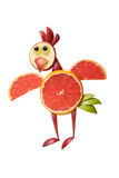 Funny flying chicken made of grapefruit Stock Photo