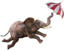 Funny Flying Elephant, Umbrella, Isolated Royalty Free Stock Photos