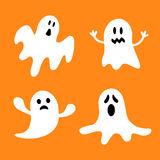 Funny flying ghost set.Different emotions face. Happy Halloween. Greeting card. Royalty Free Stock Images