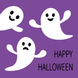 Funny flying ghost. Smiling and sad face with tooth. Happy Halloween.  Royalty Free Stock Image