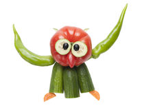 Funny flying owl made of vegetables Stock Images