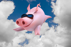 Funny flying piggies. Sky divers Stock Photos