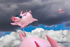Funny flying piggies. Sky divers Royalty Free Stock Image