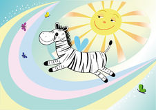 Funny Flying Zebra Royalty Free Stock Image