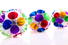 Funny foil Christmas toys in a row Royalty Free Stock Photo