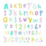 Funny font. Letters, numbers and flowers. Royalty Free Stock Images