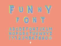 Funny font. Vector alphabet letters. And numbers. Typeface design Royalty Free Stock Photography