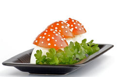 Funny food. Fly mushroom formed from boiled egg, cover with the tomato mayonnaise. Funny food for children or party Stock Images