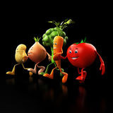 Funny food characters Stock Images