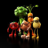 Funny food characters Stock Photography