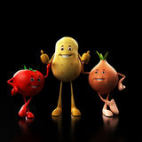 Funny food characters Stock Photos