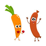 Funny food characters, carrot versus sausage, healthy lifestyle concept. Cartoon vector illustration isolated on white background. Carrot fighting sausage Royalty Free Stock Photos