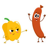 Funny food characters, pepper versus sausage, healthy lifestyle concept. Cartoon vector illustration isolated on white background. Bell pepper fighting sausage Stock Image