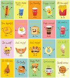 Funny food characters vector illustrations. Cards with funny food characters vector illustrations- scrambled eggs, can of soda and lemonade, hamburger and french Royalty Free Stock Photo