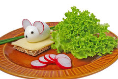 Funny food - cheese and mouse Stock Photography