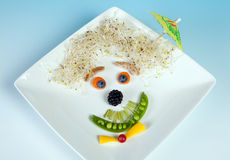 Funny food face snack Royalty Free Stock Image