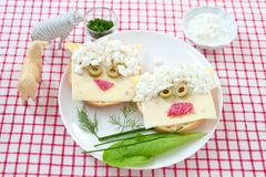 Funny sandwich sheep stock images