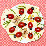 Funny food-lady bug appetizer plate Royalty Free Stock Photos
