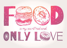 Funny food poster doodle style. Royalty Free Stock Images