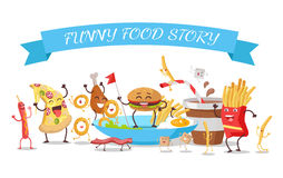 Funny Food Story Conceptual Banner. Childish Menu Royalty Free Stock Photo