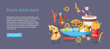 Funny Food Story Conceptual Banner Web Site Design Royalty Free Stock Photography