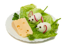 Funny food - two mouse and cheese Royalty Free Stock Photos