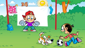 Funny football. The illustration shows the funny cartoon children playing soccer and pranks Stock Photography