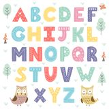 Funny forest alphabet for kids. Vector illustration Royalty Free Stock Images