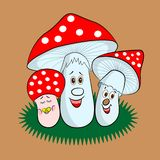 Funny forest fly agarics family vector illustration