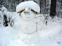 Funny forest snowman Royalty Free Stock Photography