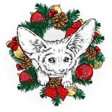 Funny fox with a Christmas wreath. Vector illustration for a postcard or a poster, print for clothes. Hipster. Christmas. Royalty Free Stock Photo
