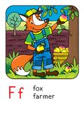 Fox farmer. Animals and profession ABC. Alphabet F