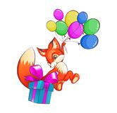 Funny fox flying on balloons gives a box with gifts royalty free stock photos