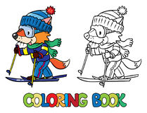 Funny fox rides on skis. Coloring book. Coloring book of funny little baby fox rides on skis. Children vector illustration Stock Photo