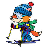 Funny fox rides on skis. Funny little baby fox rides on skis. Children vector illustration Stock Image