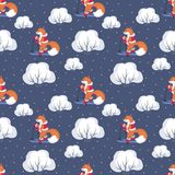Funny fox seamless pattern Royalty Free Stock Image