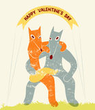 Funny fox and wolf in retro style. Happy Valentines Day card. Vector illustration. Stock Photography